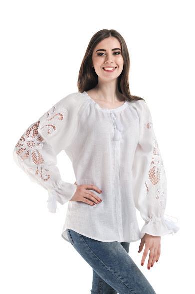 Блуза вишита Gua Диво-Квітка з рішельє S біла (7102-S)