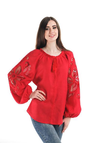 Блуза вишита Gua Диво-Квітка з рішельє XL червона (7104-XL)