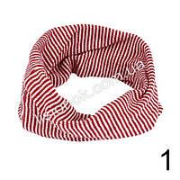 Шарф хомут снуд вязаный красно-белый, фото 1