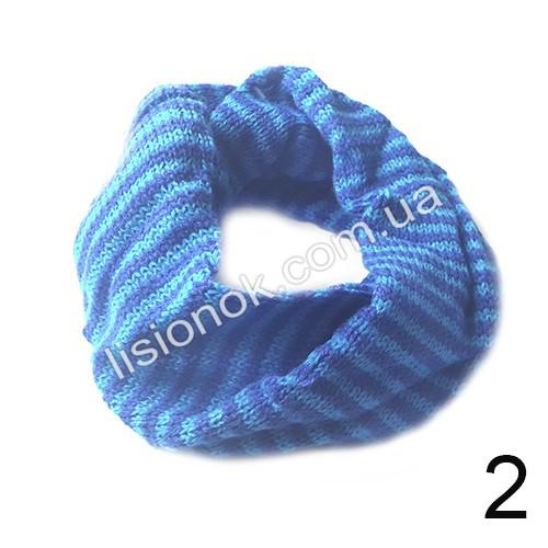 Шарф хомут снуд вязаный сине-голубой