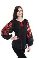 Блуза вишита Gua Диво-Квітка з рішельє XS чорна (7105-XS), фото 1
