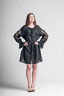 Міні сукня вишита Gua Диво-Квітка з рішельє XS чорна (8101-XS)