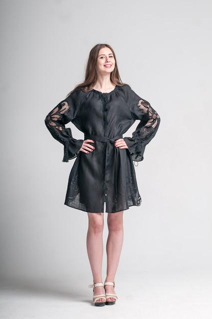 Міні сукня вишита Gua Диво-Квітка з рішельє M чорна (8101-M)