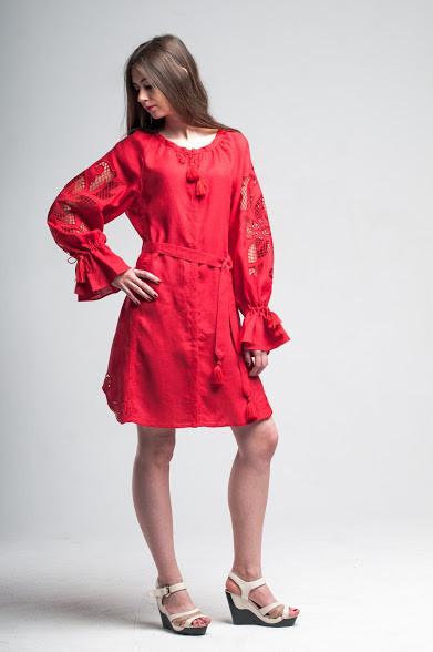Міні сукня вишита Gua Диво-Квітка з рішельє XL червона (8102-XL)
