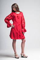 Міні сукня вишита Gua Диво-Квітка з рішельє XL червона (8102-XL), фото 1