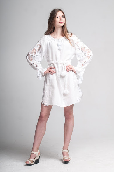 Міні сукня вишита Gua Диво-Квітка з рішельє XS біла (8103-XS)