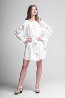 Міні сукня вишита Gua Диво-Квітка з рішельє XL біла (8103-XL), фото 1