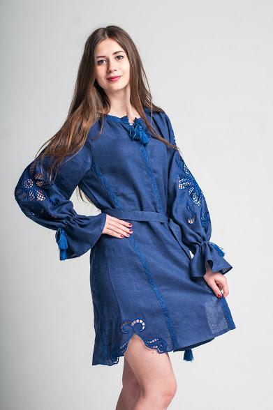 Міні сукня вишита Gua Диво-Квітка з рішельє S синя (8104-S)