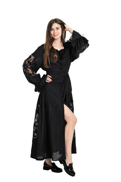 Сукня вишита Gua Диво-Квітка з рішельє XS чорна (8203-XS)