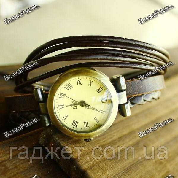 Женские кварцевые наручные часы с вязаным ремешком черного цвета