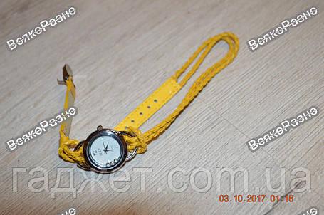 Женские часы IEKE с переплетенным длинным ремешком желтого цвета, фото 2