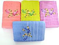 Полотенце махровое банное  Бабочки 65 х 135 см. разные цвета