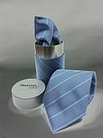 Мужской галстук и платок голубого цвета