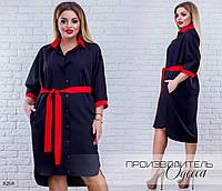 Платье-рубашка под пояс с карманами костюмка 50-52,54-56,58-60