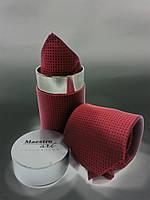 Мужской галстук и платок красно-бордового  цвета