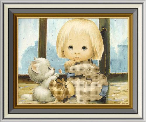 """Схема для вышивки бисером """"Девочка с котиком"""""""