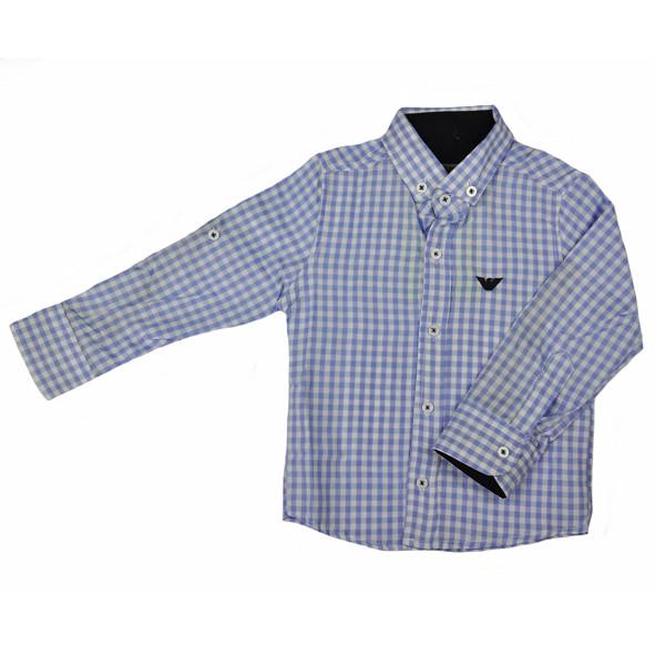 Рубашка бело-голубого цвета в клетку для мальчика, ARMANI