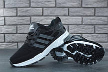 Мужские кроссовки Adidas Marathon черно-серые топ реплика, фото 3