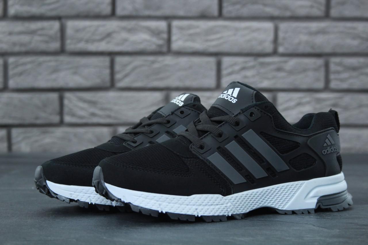 Мужские кроссовки Adidas Marathon черно-серые топ реплика