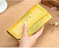 Кошелек женский кожаный, натуральная кожа цвет желтый.