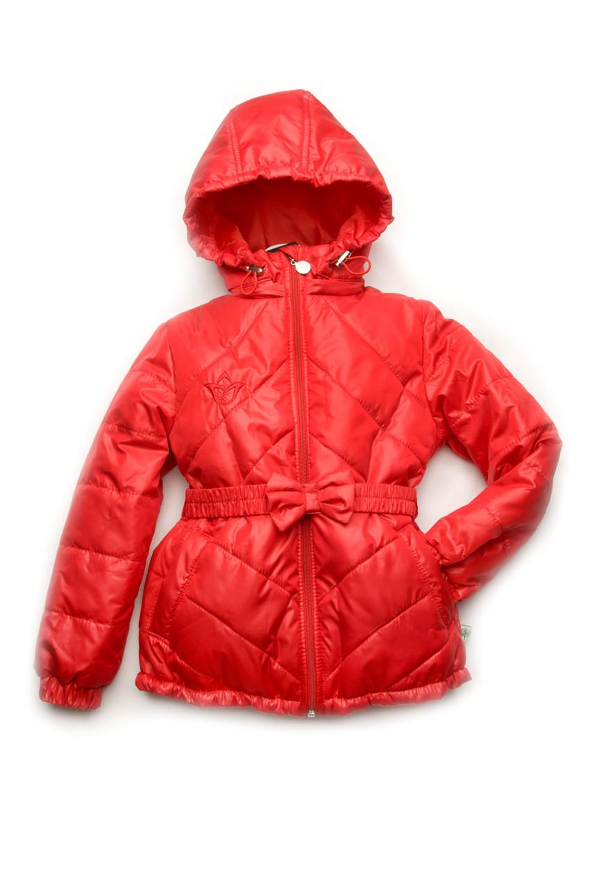 Куртка демисезонная для девочки (красный тюльпан) Модный Карапуз