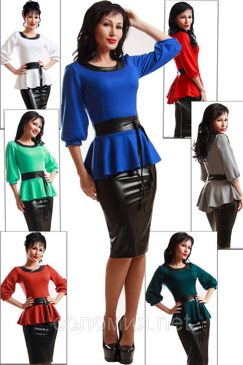 Эффектный комлект состоящий из  блузки с баской и юбки в обтяжку 42-56р