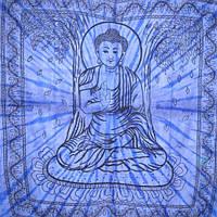 """Покрывало """"Будда"""" синее 100% хлопок (210х240 см)"""