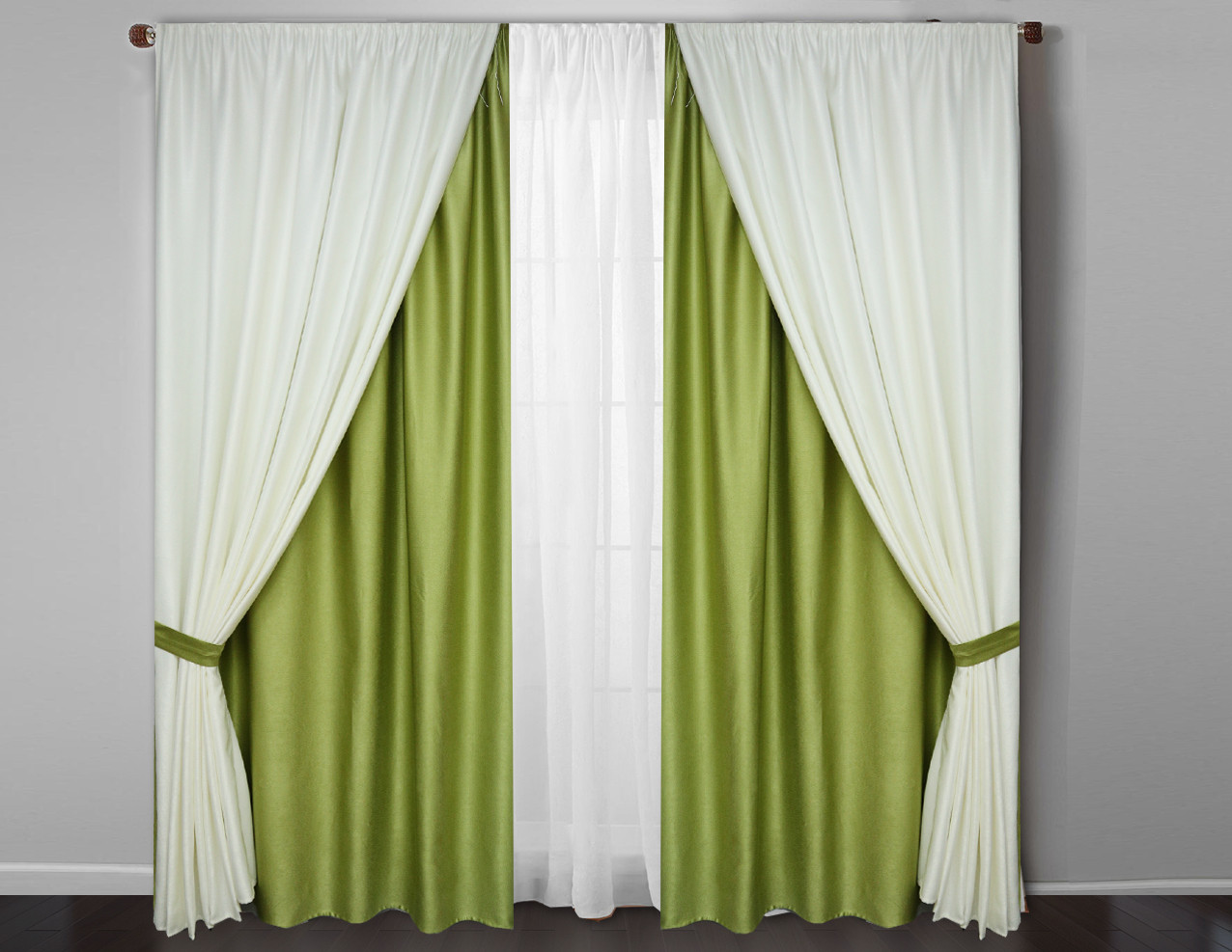 Богатые шторы в комплекте с тюлем