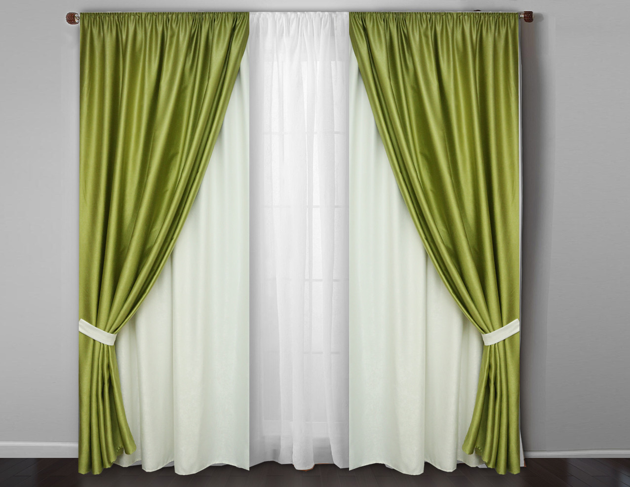 Модный комплект шторы с тюлем