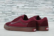 Кеды мужские Vans Old Skool бордовые топ реплика, фото 2