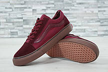 Кеды мужские Vans Old Skool бордовые топ реплика, фото 3