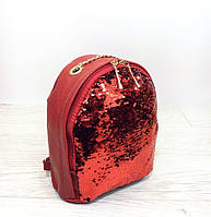 Стильный городской рюкзак с двухсторонними паетками перевертышами. Цвет красный, фото 1