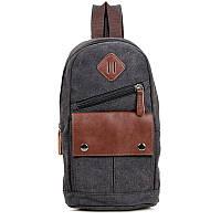 """Рюкзак сумка через плече """"Canvas 7"""" тёмно серый, фото 1"""