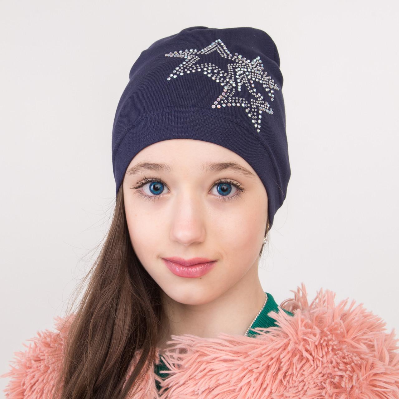 Хлопковая шапка на весну для девочки оптом - Артикул 2257