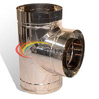Тройник дымоходный 90° нерж/нерж 200/260мм