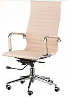 Кресло офисное директорское Алабама НNEW, высокая спинка, молочно белое