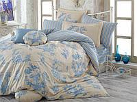 Комплект постельного белья HOBBY Poplin Vanessa голубое евро комплект