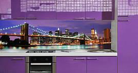 Кухонный фартук Ночной город (полноцветная фотопечать, огни города, Нью-Йорк, пленка для фартука) 600*2500 мм