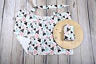 Накидка для кормления + сумочка-чехол, Цветные треугольники