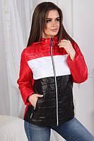 Женская короткая демисезонная куртка с капюшоном  красного цвета