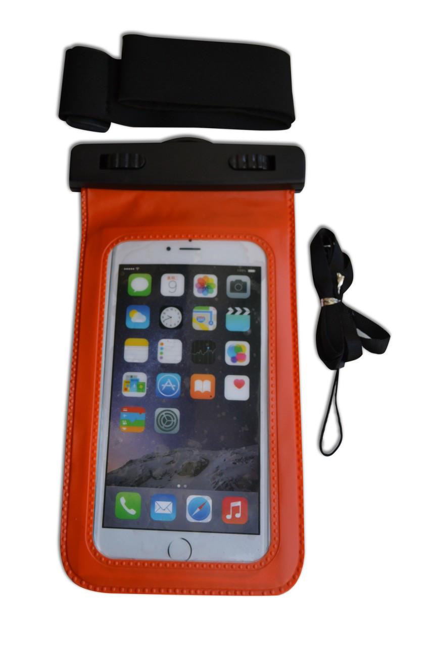 Водонепроницаемый чехол для телефона оранжевый с ремнем на руку
