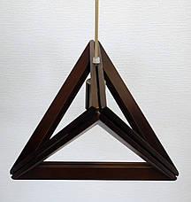 Люстра лофт из дерева TRIANGLE-2 Е27 темное дерево, фото 2