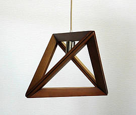 Люстра лофт из дерева TRIANGLE-3 темно-светлое дерево, фото 2