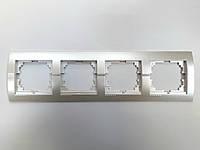 Рамка четверная горизонтальная жемчужно-белый металлик Deriy Lezard