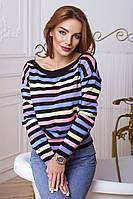 Вязаный женский свитер в полоску