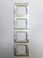 Рамка четверная вертикальная жемчужно-белый металлик Deriy Lezard