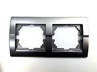 Рамка двойная горизонтальная тёмно-серый металлик Deriy Lezard