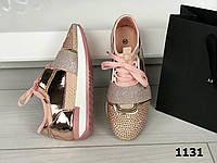 Кроссовки розовые , стразы на шнурках