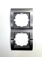 Рамка двойная вертикальная тёмно-серый металлик Deriy Lezard