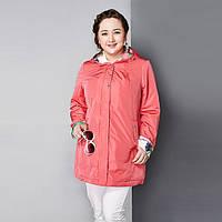 Женский демисезонный плащ Astrid больших размеров куртка тонкая с капюшоном AY-1670 48, 50, 52, 54, 56, 58
